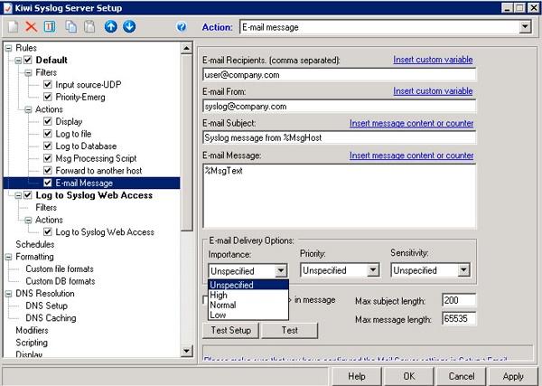 Configuración del Kiwi Syslog Server